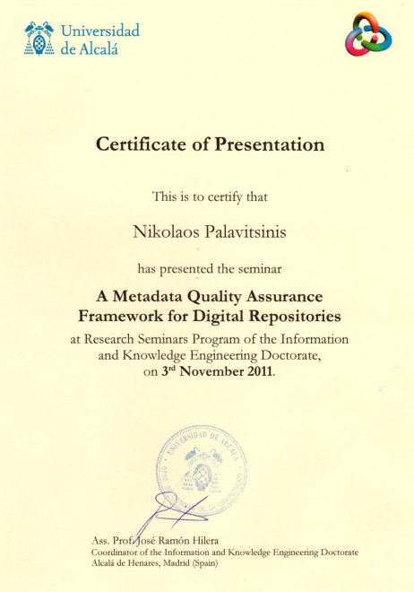 Certificate of Presentation